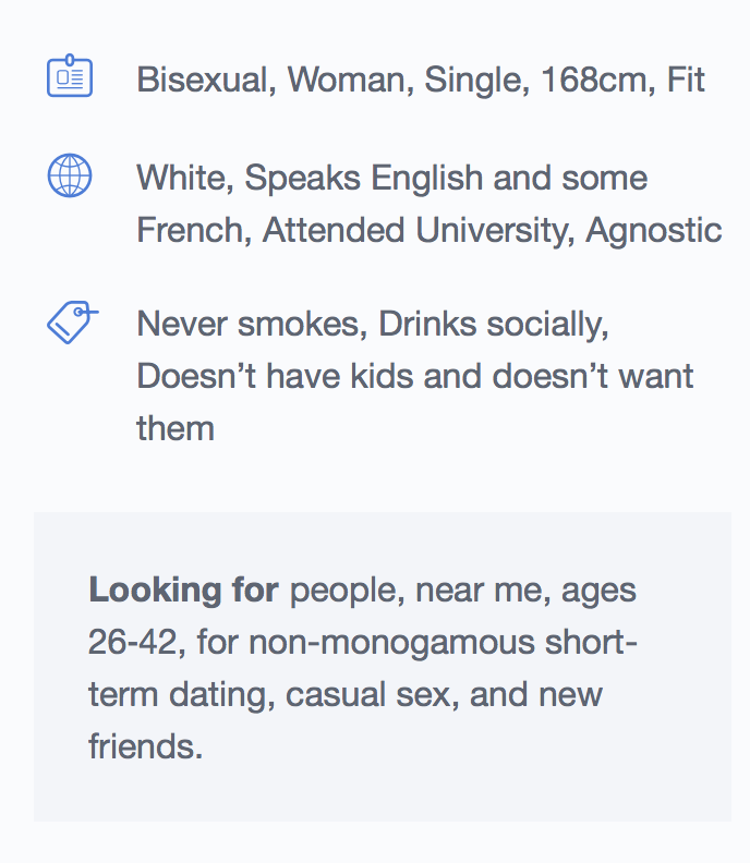 Sarah's online dating specs